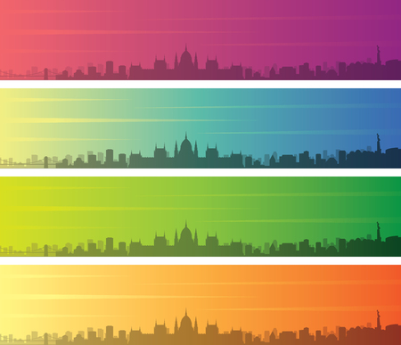 Budapest Multiple Color Gradient Skyline Banner 일러스트