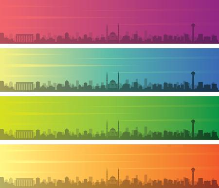 Ankara Multiple Color Gradient Skyline Banner