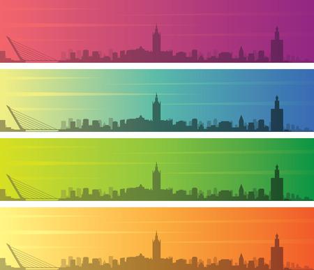 Seville Multiple Color Gradient Skyline Banner