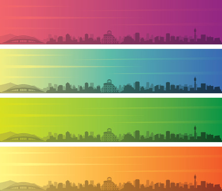 Hiroshima Multiple Color Gradient Skyline Banner