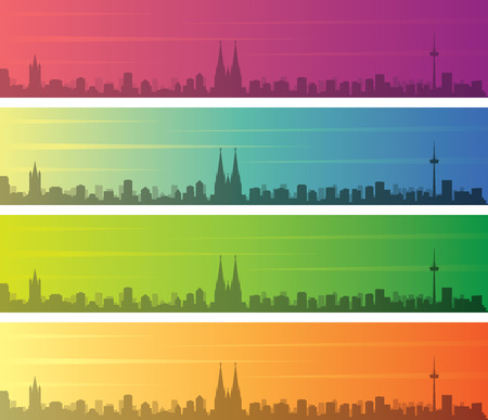 Cologne Multiple Color Gradient Skyline Banner