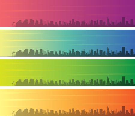 Tel Aviv Multiple Color Gradient Skyline Banner Illustration