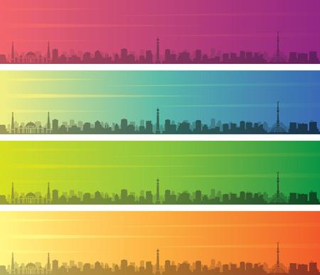 Bannière d'horizon à dégradé de couleurs multiples d'Ashgabat