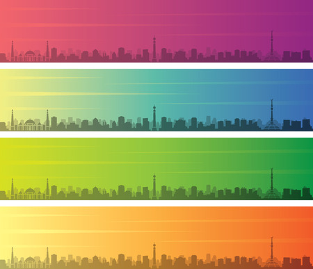 Ashgabat Multiple Color Gradient Skyline Banner