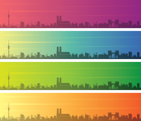 Munich Multiple Color Gradient Skyline Banner Çizim