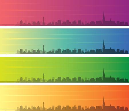Linz Multiple Color Gradient Skyline Banner