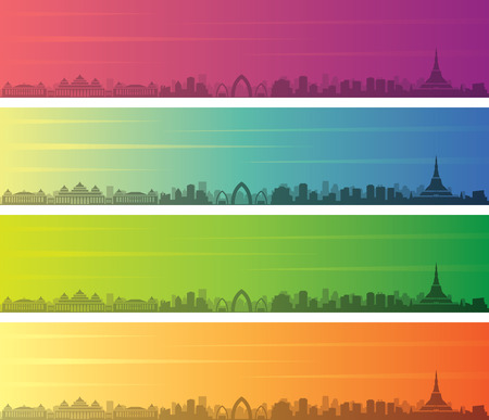 Naypyidaw Multiple Color Gradient Skyline Banner