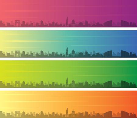 Chisinau Multiple Color Gradient Skyline Banner