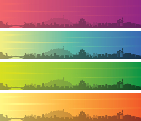 Ljubljana Multiple Color Gradient Skyline Banner