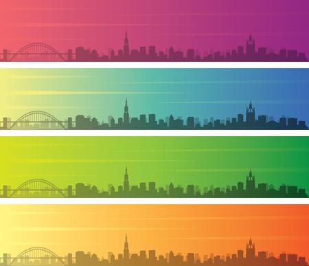 Newcastle Multiple Color Gradient Skyline Banner