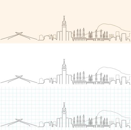 Mecca Hand Drawn Skyline Vetores