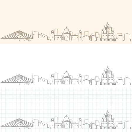 Kolkata Hand Drawn Skyline