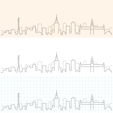 Warsaw Hand Drawn Skyline