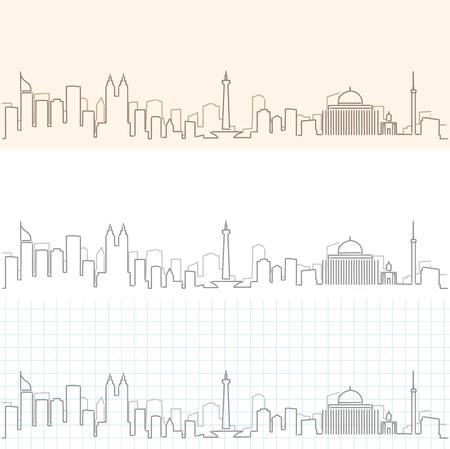 Jakarta Hand Drawn Skyline