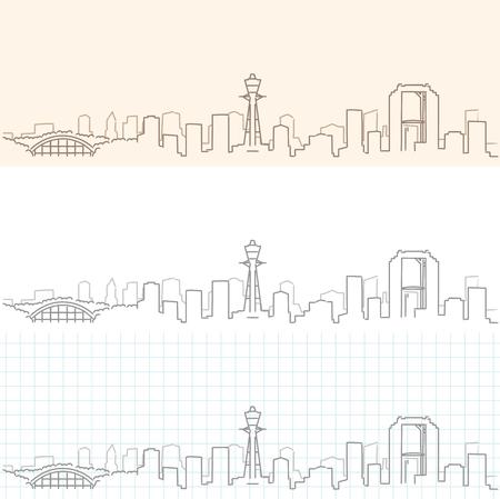Osaka Hand Drawn Skyline