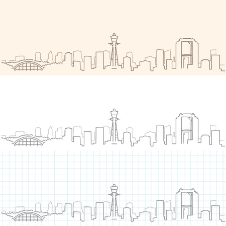 Osaka Hand Drawn Skyline