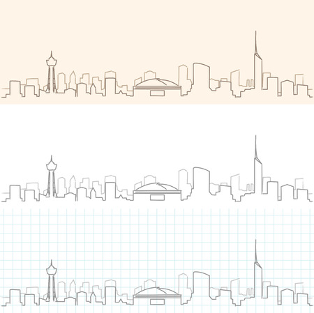 Fukuoka Hand Drawn Skyline