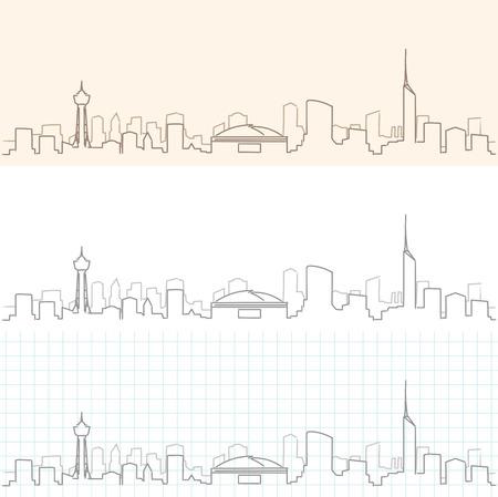 Fukuoka Hand Drawn Skyline