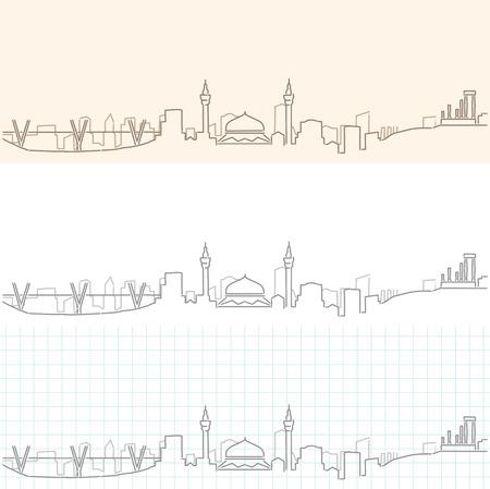 Horizon dessiné à la main d'Amman Vecteurs