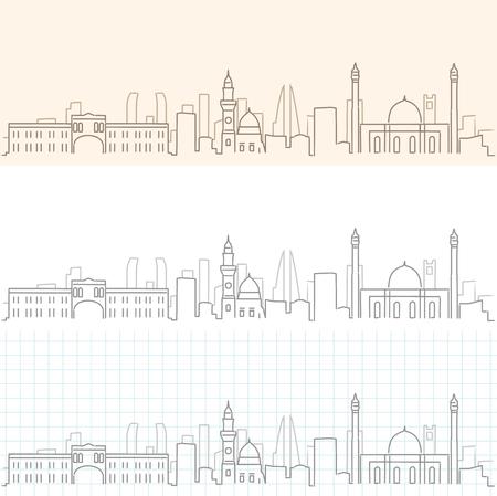 Skyline dessiné à la main de Bahreïn