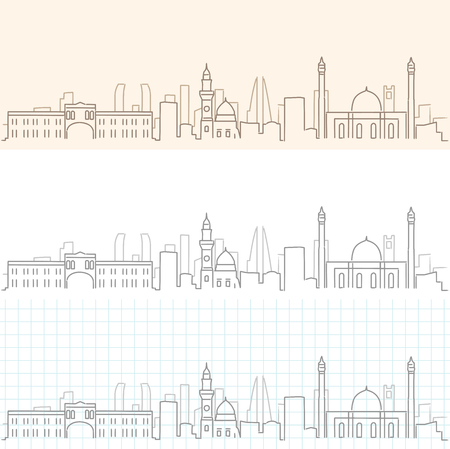 Bahrain Hand Drawn Skyline