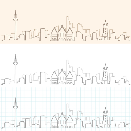 Frankfurt Hand Drawn Skyline Illustration