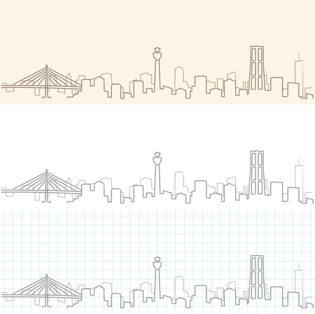 Yokohama Hand Drawn Skyline