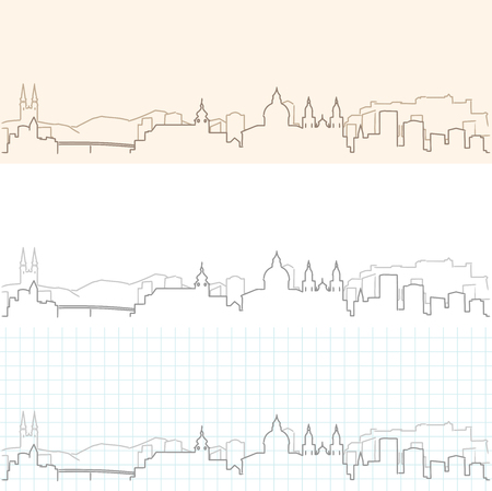 Salzburg Hand Drawn Skyline Vetores