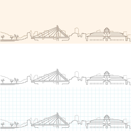 Bandung Hand Drawn Skyline Illustration