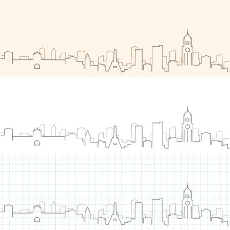 Handgetekende skyline van Manilla Vector Illustratie