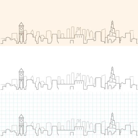 Doha Hand Drawn Skyline Illustration