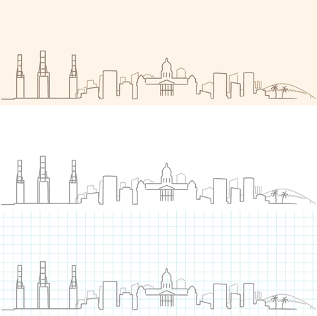 Durban Hand Drawn Skyline
