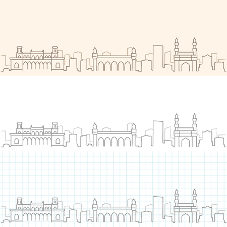 Hyderabad Hand Drawn Skyline Vetores
