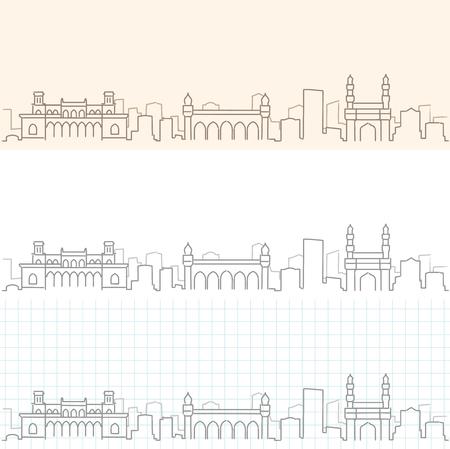 Hyderabad Hand Drawn Skyline