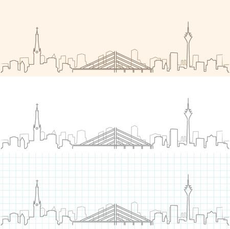 Dusseldorf Hand Drawn Skyline Illustration