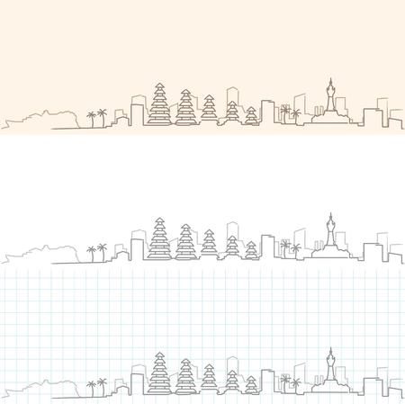 Denpasar Hand Drawn Skyline