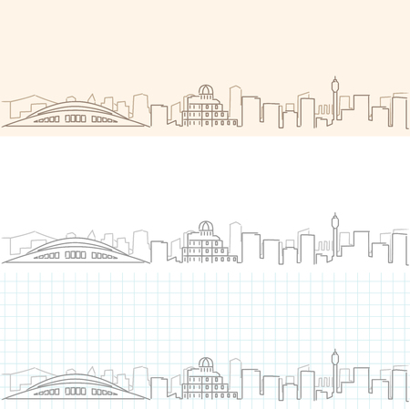 Hiroshima Hand Drawn Skyline Illustration