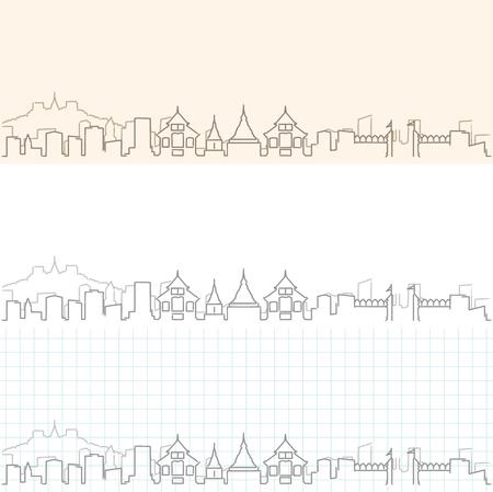 Chiang Mai Hand Drawn Skyline  イラスト・ベクター素材