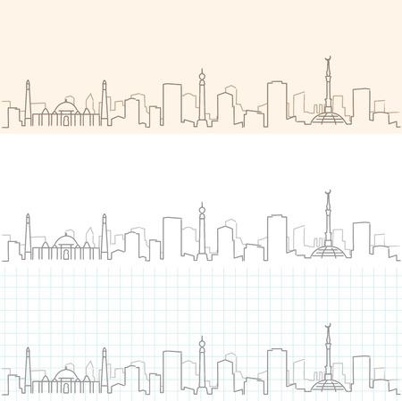 Ashgabat Hand Drawn Skyline