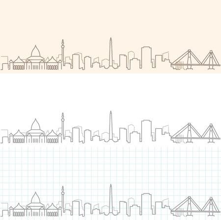 Surabaya Hand Drawn Skyline