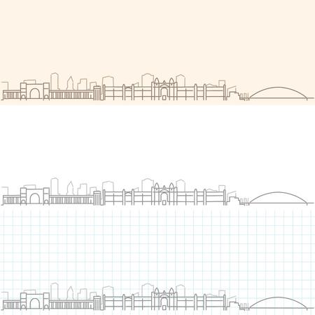 Novosibirsk Hand Drawn Skyline