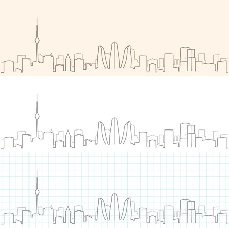 Baku Hand Drawn Skyline