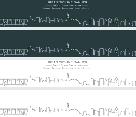 Porto Single Line Skyline Banner 向量圖像