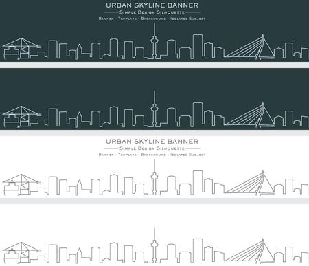 Rotterdam Single Line Skyline Banner