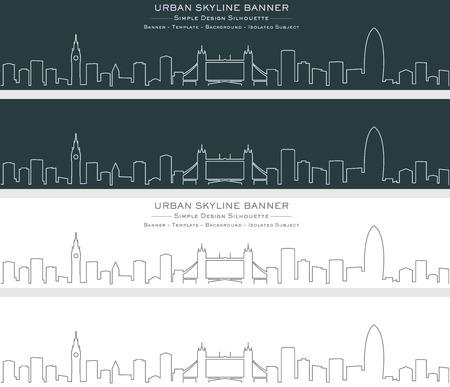 Banner de horizonte de una sola línea de Londres