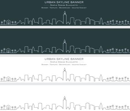 Marrakesh Single Line Skyline Banner Illustration