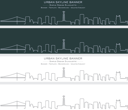 Lisbon Single Line Skyline Banner