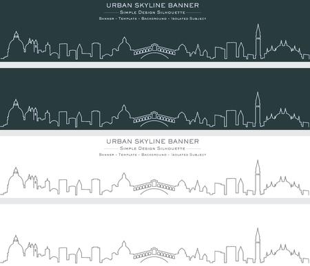 Venice Single Line Skyline Banner