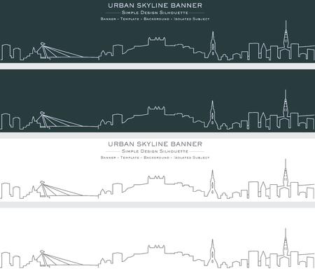 Bratislava Single Line Skyline Banner Ilustração