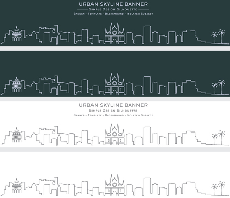 Palma Single Line Skyline Banner Illustration
